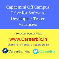 Capgemini Off Campus Drive for Software Developer/ Tester Vacancies