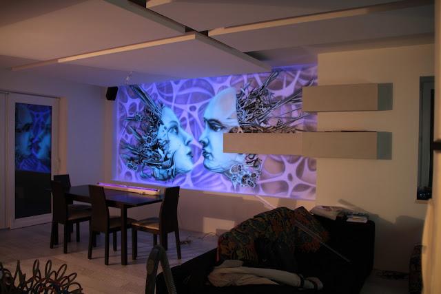 Biomechani9ka steampunkowa, mural UV namalowany na ścianie blac light murals,