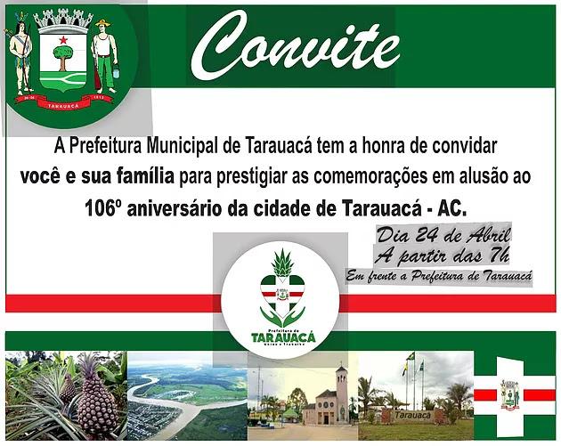 TARAUACÁ: PROGRAMAÇÃO DO ANIVERSÁRIO DO O MUNICÍPIO