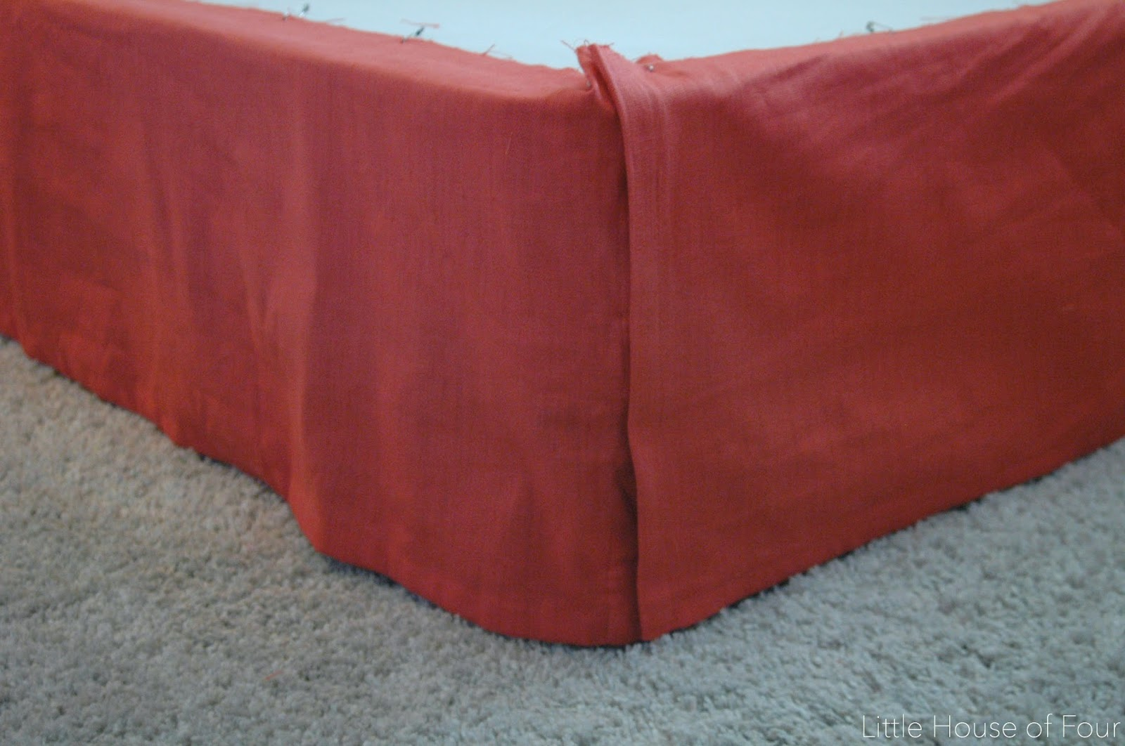pinning curtain panel to boxspring for bedskirt
