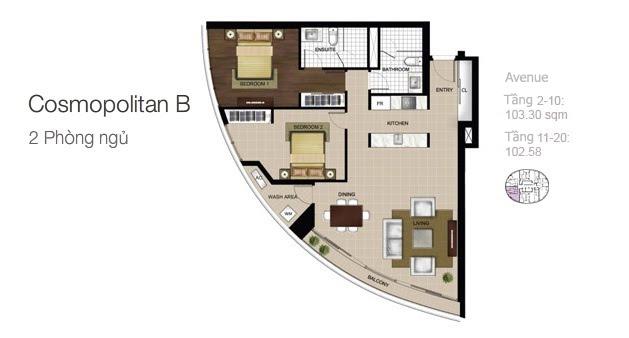 Mặt bằng căn hộ City Garden: Cosmopolitan B 2 phòng ngủ