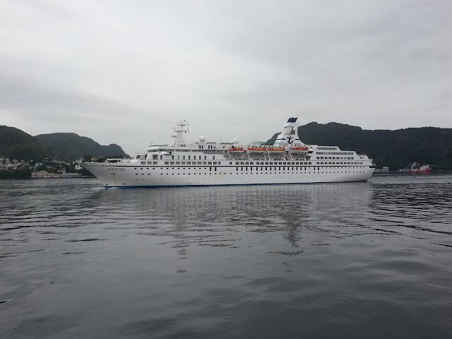 Cruise ship Astor arriving in Bergen, Norway; Fjord cruise; Ships in Bergen