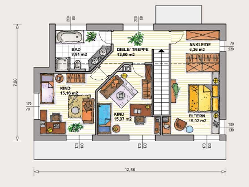 Grundriss einfamilienhaus modern gerade treppe  Grundriss Einfamilienhaus Modern Gerade Treppe | Minimalistische ...