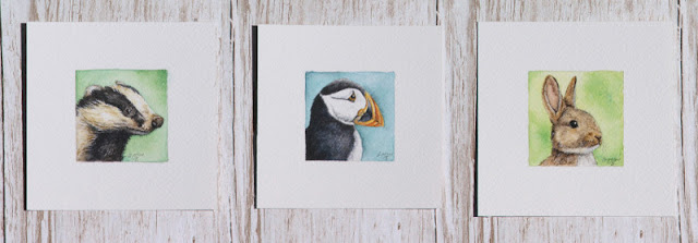 Miniature wildlife watercolours badger puffin rabbit