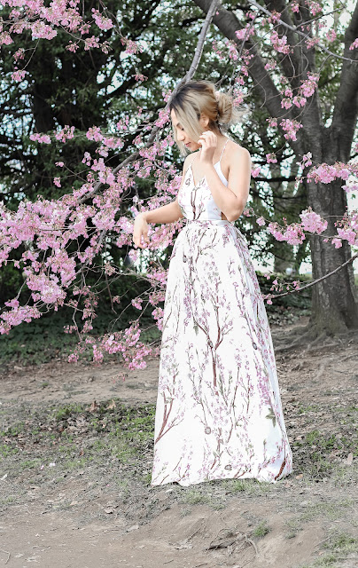 Cherry blossom open back dress