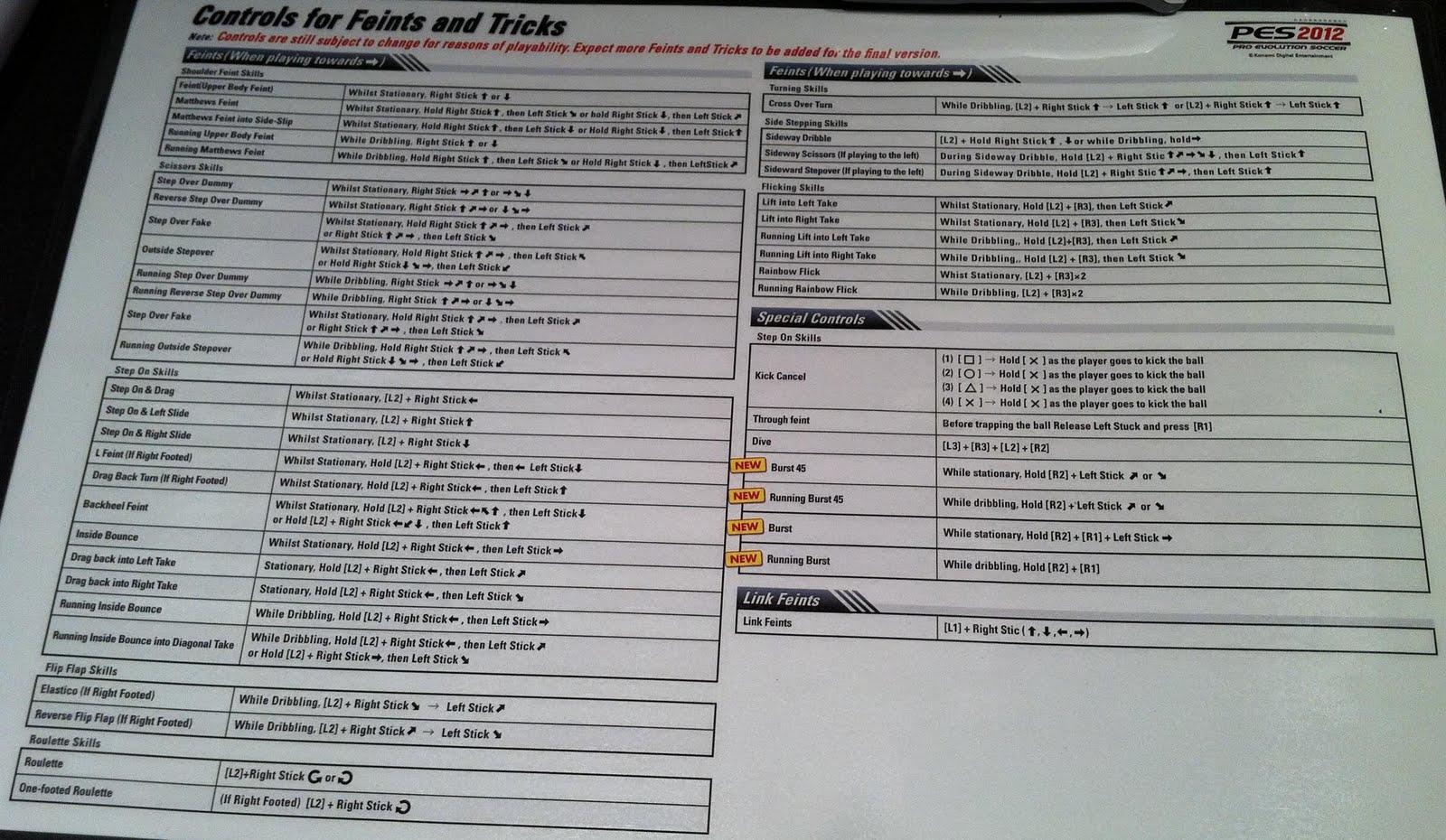 PES 2012 CONTROLS PDF