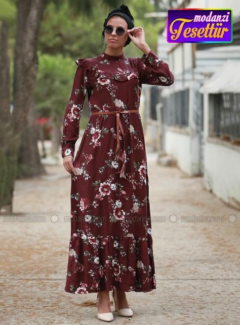d6f7d4098eeca Çiçekli Elbise - Bordo - 2019 Çiçekli Elbise Modelleri - Modanisa