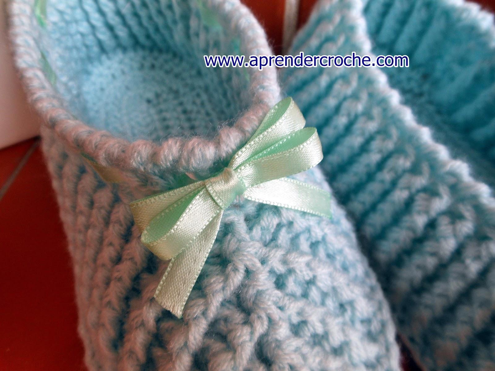 Pantufas em croche amore baby - aprender croche Curso Edinir Croche Aprender Croche