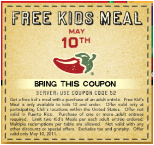 sign up for chilis coupons