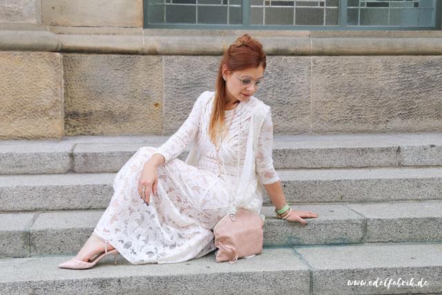 die edelfabrik, outfit, langes, weißes Kleid aus Lace