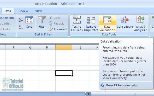 Data validation pada Excel
