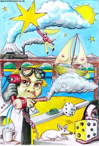 Hanging on A Star - A woman hangs on a star in a dreamscape world, where a mouse goes to eat cheese but the cheese turns into dice. A boat floats on a cloud of smoke from a man's cigar, he looks perplexed as his phone turns into a breast and squirts sea water into a mug.