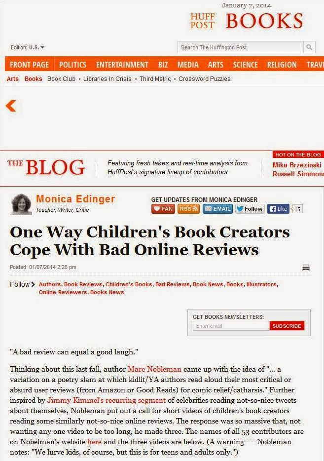 Noblemania: Kidlit authors reading bad reviews in Huffington