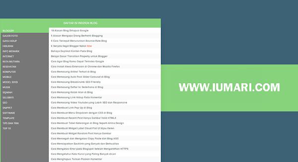 Cara Memasang Daftar Isi Ala Iumari Blog