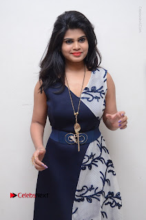 Telugu Actress Alekhya Stills in Blue Long Dress at Plus One ( 1) Audio Launch  0004.jpg