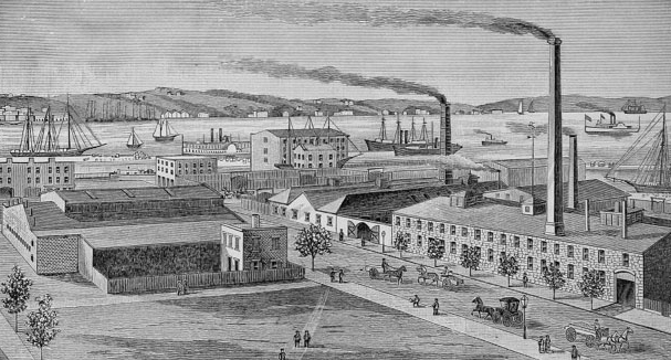 Historic illustration showing Brooklyn Clay Retort and Fire Brick Works complex