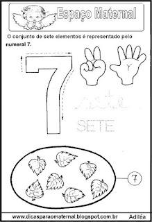 Desenho numeral 7 para colorir
