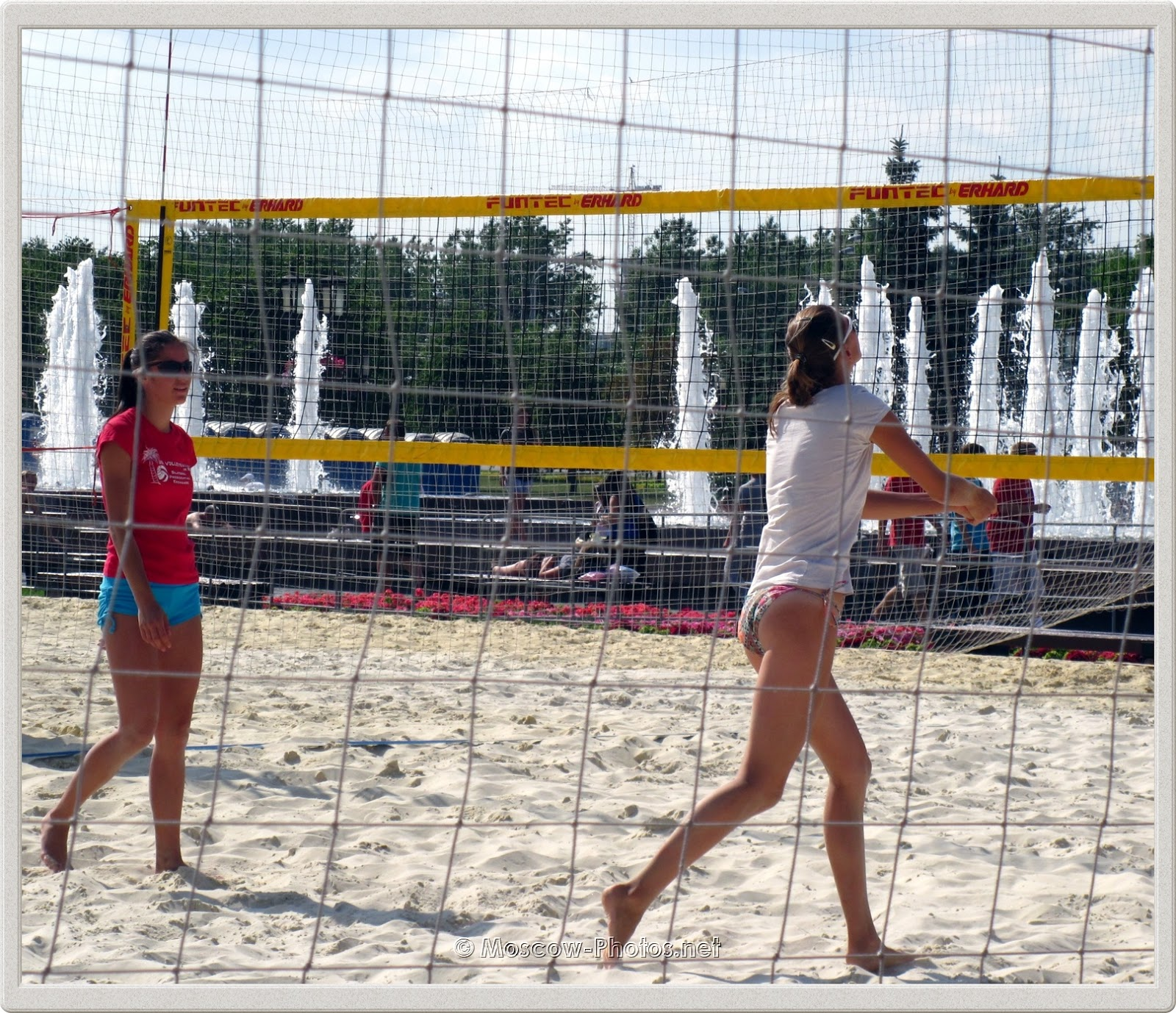 Moscow Girls Playing Beach Volleyball