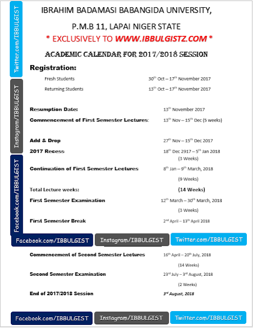 IBBU ACADEMIC CALENDAR FOR 2017/2018 UPDATED