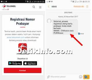 registrasi kartu telkomsel berhasil