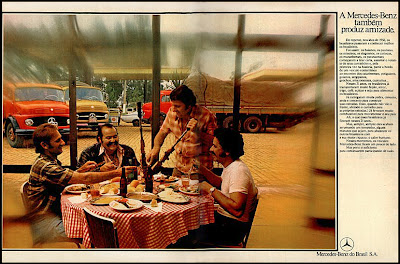 propaganda caminhões Mercedes-Benz - 1977. propaganda anos 70. propaganda carros anos 70. reclame anos 70. Oswaldo Hernandez..
