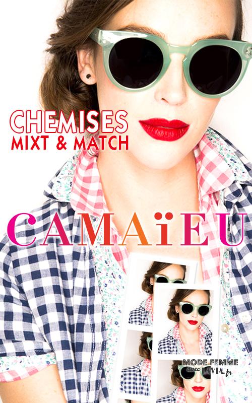 Chemise d'été femme en coton vichy bleu ou rose Camaïeu