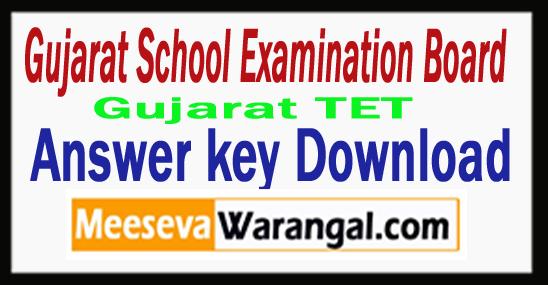 Gujarat TET Answer key 2017 Download