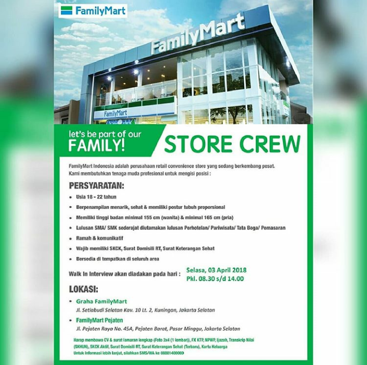 Walk In Interview FamilyMart Untuk Posisi Store Crew