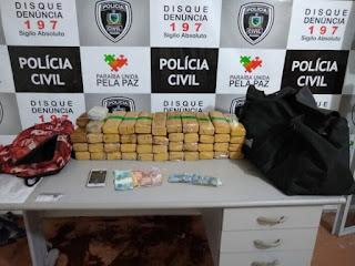 Polícia prende homem com R$ 40 mil e 30 kg de maconha