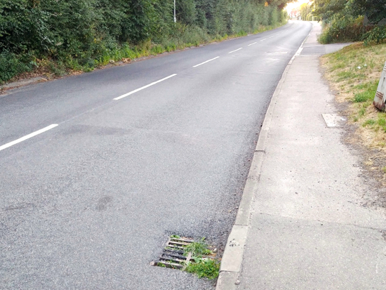 Photograph of Weeds growing out of a blocked grid on Station Road, close to an area known to be susceptible to flooding Image by North Mymms News released under Creative Commons BY-NC-SA 4.0