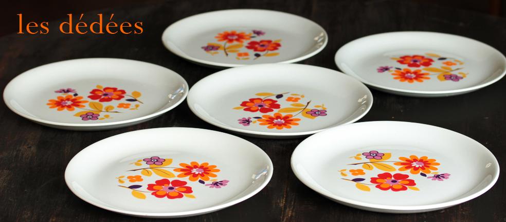 les dedees vintage recup creations les six assiettes 70 flower power by ben. Black Bedroom Furniture Sets. Home Design Ideas
