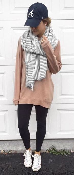 street style obsession / hat + nude sweater + skinnies + white sneakers + stripped scarf
