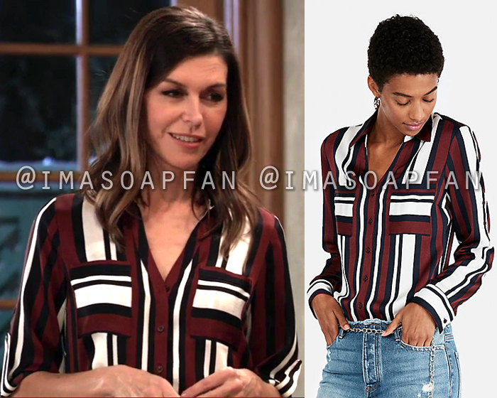 Anna Devane, Finola Hughes, Dark Red White and Navy Blue Striped Shirt, General Hospital, GH