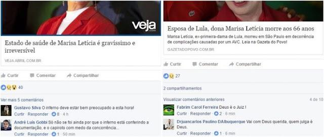 Dona Marisa Letícia, 66 anos, esposa do ex-presidente da República Luiz Inácio Lula da Silva, morreu nesta quinta-feira (2) em razão de complicações causadas por um AVC hemorrágico.  A morte da ex-primeira-dama mal havia sido anunciada e a internet já estava infestada de comentários chocantes, a exemplo do que aconteceu quando foi divulgada a internação de Marisa na última semana.  Dessa vez, porém, os níveis de excitação registrados foram superiores. Era como se a morte de dona Marisa, sacramentada, representasse uma missão cumprida.  Mensagens de ódio e de celebração ao falecimento da esposa de Lula ultrapassaram as barreiras das caixas de comentários dos grandes veículos de comunicação, como G1, UOL e VEJA.