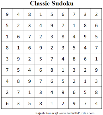 Number Place (Fun With Sudoku #59) Solution