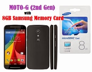 MOTO-G (2nd Gen) with 8GB Samsung Memory card for Rs.10200 (For CITI Bank Credit / Debit / Net Banking) | Rs.10920 for Others @ ebay (1 Yr Motorola Warranty)