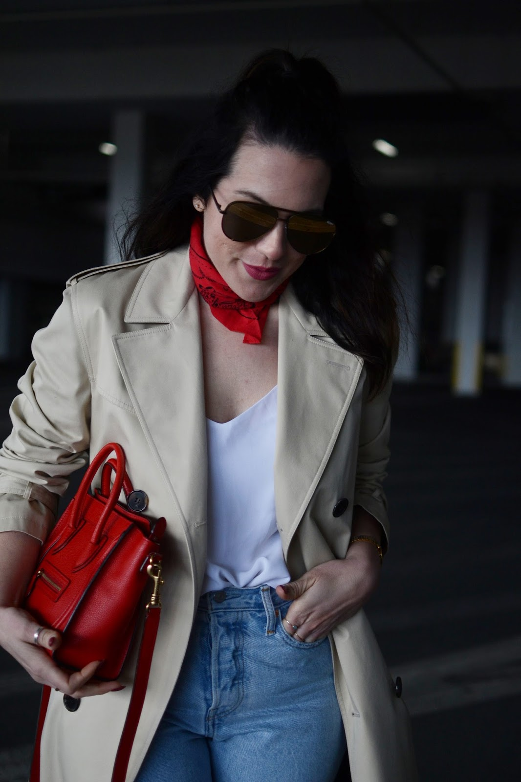 saint laurent trench coat outfit levis wedgie jeans celine nano luggage tote vancouver fashion blogger