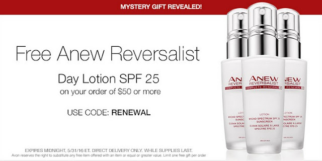 Free Avon Anew Reversalist Day Lotion with your $50+ online Avon order! Click pin for coupon code. #avonrep Shop: https://jenbertram.avonrepresentative.com/