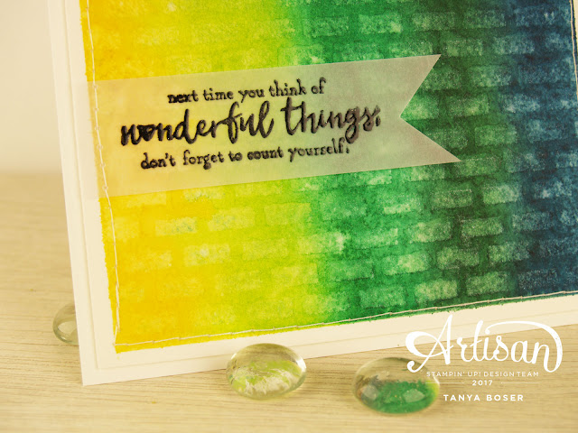 For another fun way to use a stencil, apply to a watercolored background, spritz with pearlized water or a shimmer spray, or plain water, allow to sit on paper for a few seconds, then dab off to remove some of the ink. - Tanya Boser, Stampin Up, Just Add Text stamp set, Pattern Party mask
