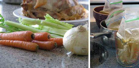 Makkelijk recept om kippenbouillon te maken met een soepkip en hele groenten