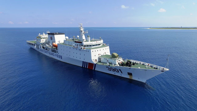 Image Attribute: 12,000 ton China Coast Guard (CCG) 3901 cutter No. 1123 patrols claimed islands in the disputed South China Sea.