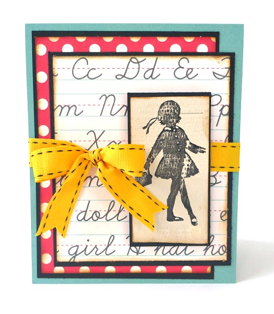 Stamped School Girl Card by Dana Tatar for Creative Inspirations Paint