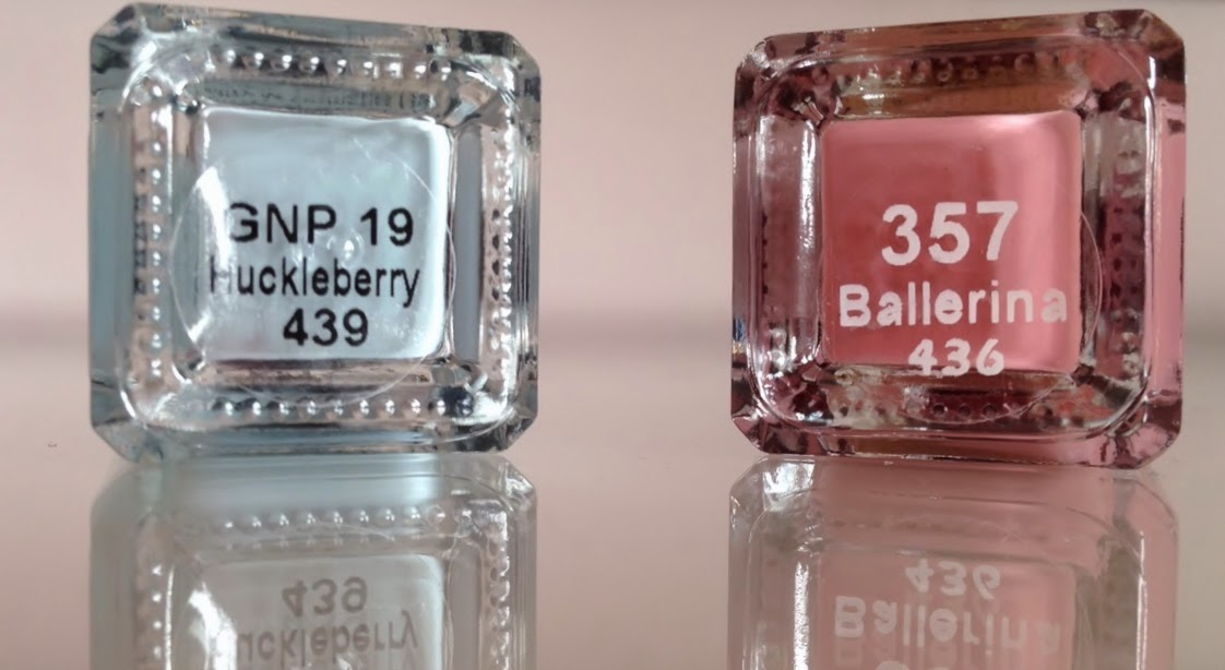 Barry M Huckleberry (pale blue) and Ballerina (dusty pink) nail polish