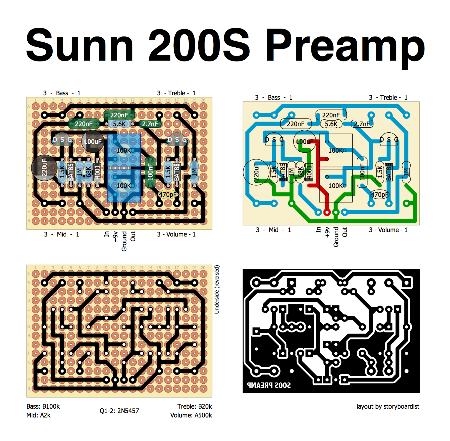Perf and PCB Effects Layouts: Sunn 200S Preamp