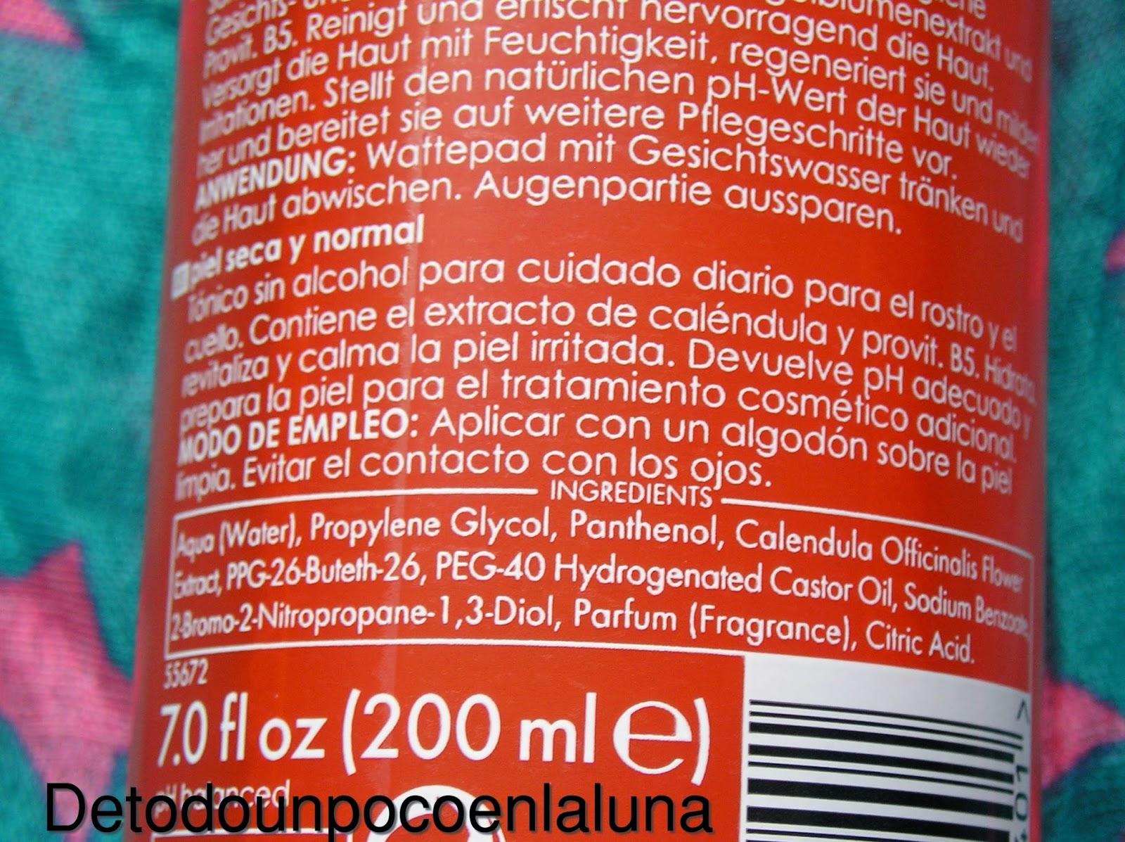 ingredientes y modo de uso tónico ziaja