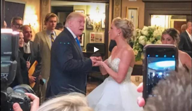 'ترامب' يفاجأ الجميع ويدخل حفل زفاف دون سابق انذار شاهد ماذا فعل مع العروسين