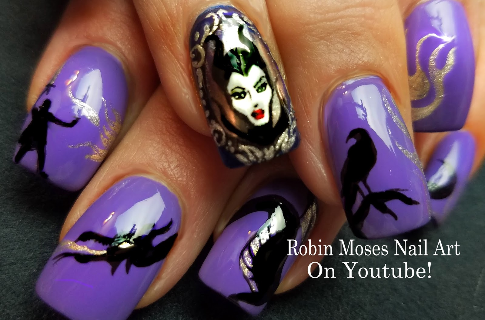 Nail Art by Robin Moses: Maleficent Nails | Evil Disney Queen in the ...