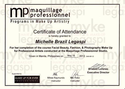 HMUA Myke Legaspi My Hair  Make-Up Artistry Certificates
