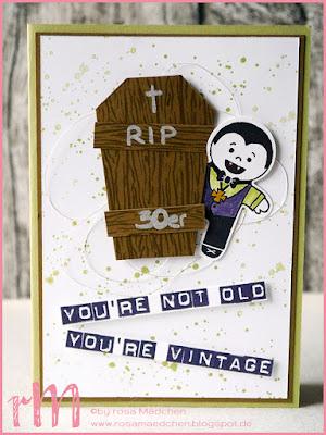 Stampin' Up! rosa Maedchen Kulmbach: Geburtstagskarte zum 40. mit Cookie Cutter Halloween, Ein Haus für alle Fälle, Gorgeous Grunge und Labeler Alpha