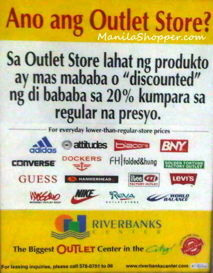 e287d7cc584161 Because these stores offer discounts not lower than 20% from the regular  price. Here s also a list of all the outlet stores at Riverbanks Center.